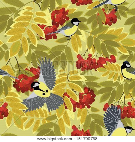 tit among autumn rowan branches seamless vector pattern