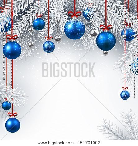 Silver background with Christmas balls and fir branches. Vector illustration.