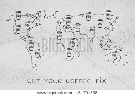 Coffee Tumblers All Over A World Map