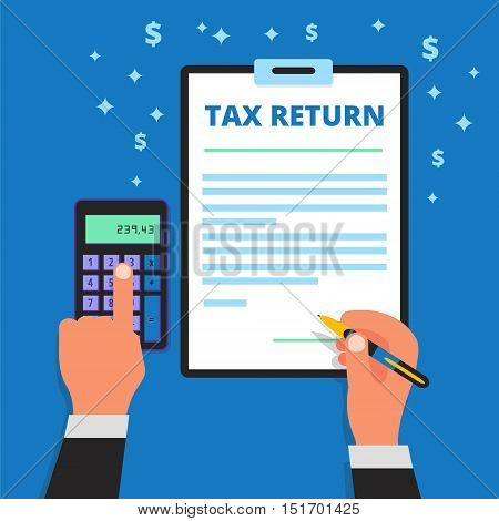 Businessman hands holding pen calculating and filling out income tax return form. Man files a refund document. Submitting of declaration document. Taxpayer vector illustration