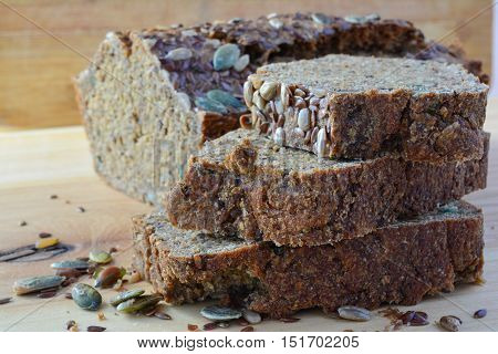 Chrono organic unleavened bread with various seeds pumpkin sunflower flax seeds delicious and very healthy side view close up