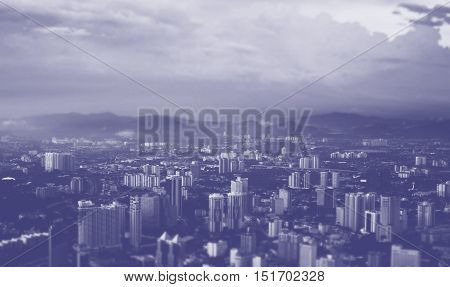 a bird's eye view of big city, business metropolis top view, blue toning