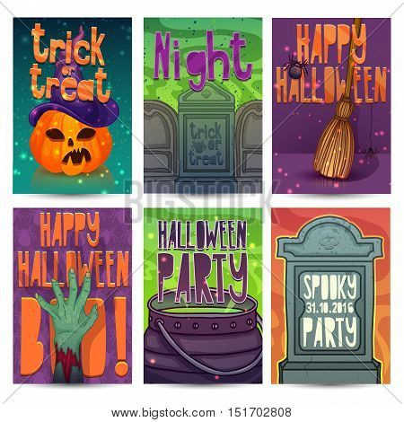 Happy Halloween party invitation greeting card flyer banner poster templates. Halloween character of zombies pumpkin headstone and magical witchs hat. Place for your text. Vector