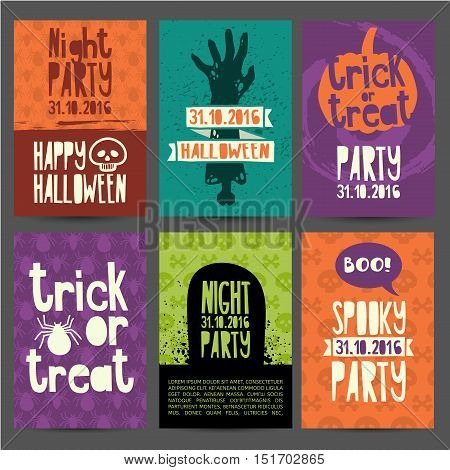 Happy Halloween party invitation greeting card flyer banner poster templates. Hand drawn silhouettes of zombies pumpkin headstone and magical witchs hat. Place for your text. Vector