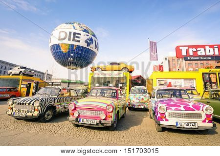 BERLIN GERMANY - 1 MARCH 2016: vintage Trabant cars at Trabi Musem at Check Point Charlie in the capital city - The automobile was produced from 1957 to 1990 by former East German auto maker VEB