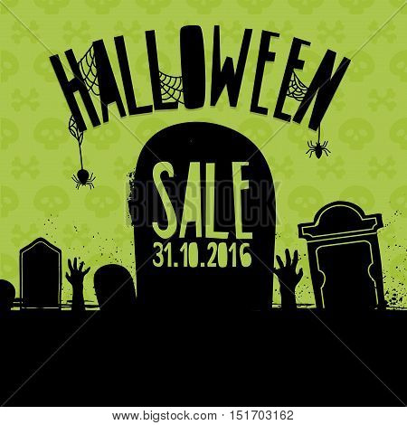 Banner Design for Halloween sale. Poster with decoration handstone zombie hand. Terrible brochure for halloween offer. Vector.