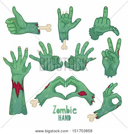 Set of icons symbols pin with cartoon zombie hands. Collection of gestures dead zombie hands for the Halloween. Funny hand dead people design elements. Vector