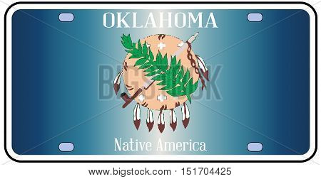 Oklahoma state license plate in the colors of the state flag with the flag icons over a white background