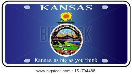 Kansas state license plate in the colors of the state flag with the flag icons over a white background