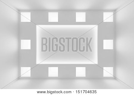 Abstract white wall with square embedded lamps and hidden lights and empty space abstract architecture background 3d illustration
