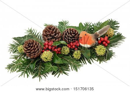 Winter and christmas decoration with red bauble and robin decorations, holly, ivy, pine cones and fir over white background.