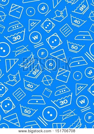 Pattern created from laundry washing symbols on a blue background. Seamless vector illustration