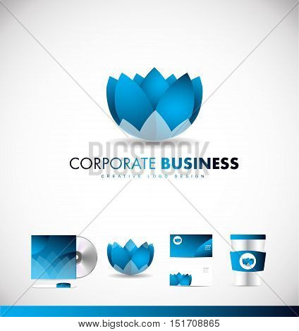Lotus flower blue corporate business vector logo icon sign design template identity