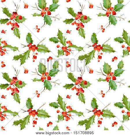 Vintage Holly Berry Background - Seamless Christmas Pattern - in Vector