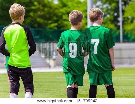 Young Soccer Players. Youth Football Club. Children Playing Soccer Match