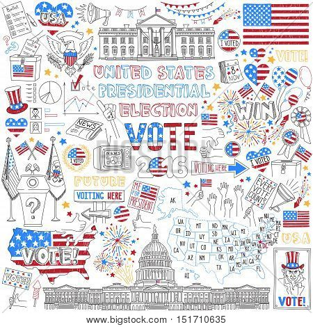 United States Presidential Election drawings set. Political campaign and voting attributes, patriotic symbols, american flags and maps collection. Vector objects isolated on white background.