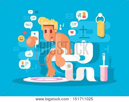 Dependence on gadgets. Guy sitting on toilet with phone. Vector illustration