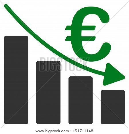 Euro Recession Bar Chart icon. Vector style is bicolor flat iconic symbol, green and gray colors, white background.