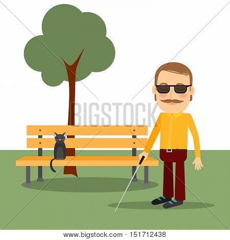 Blind man in the park standing near the bench. Vector illustration