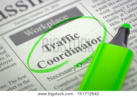 A Newspaper Column in the Classifieds with the Small Advertising of Traffic Coordinator, Circled with a Green Highlighter. Blurred Image. Selective focus. Job Search Concept. 3D Rendering.