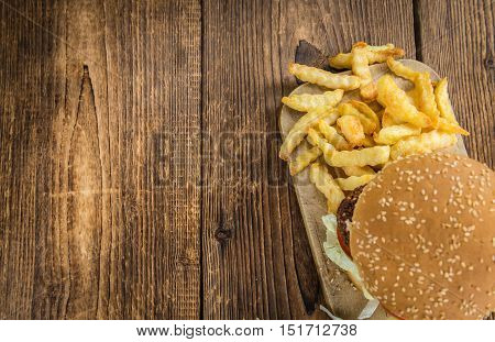 Wooden Table With A Falafel Burger