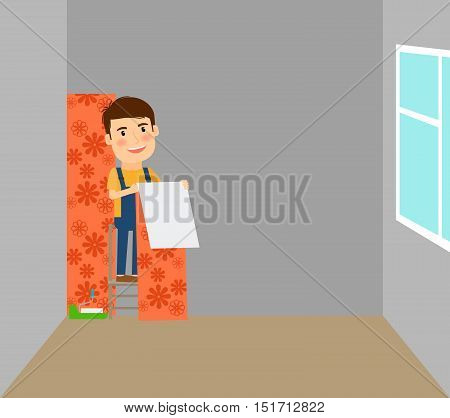 Man making repairs in room, putting on wallpaper. Vector illustration
