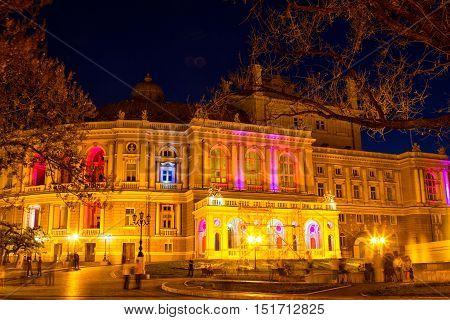 Odessa Opera and Ballet Theater at night. Ukraine