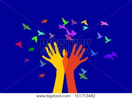 Hands in the form of trees releasing birds. Color image on a blue background