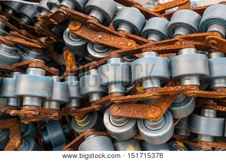 metal chain old conveyors inside the machine system tool