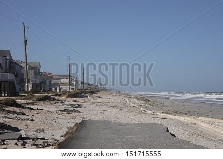View of Old A1A Highway Destroyed by Hurricane Matthew October 7, 2016