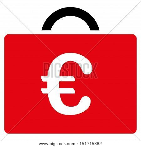 Euro Bookkeeping Case icon. Vector style is bicolor flat iconic symbol, intensive red and black colors, white background.
