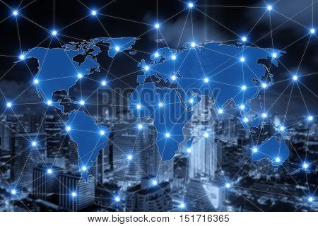 World map connection and blurred city of business centre. Technology and network connection concep. Element of this image furnished by NASA