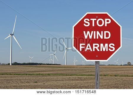 Stop Wind Farms Sign - Protest Turbines