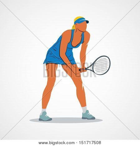 Abstract tennis player on a white background. Vector illustration.