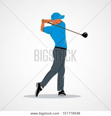Abstract golf player kick the ball on a white background. Vector illustration.