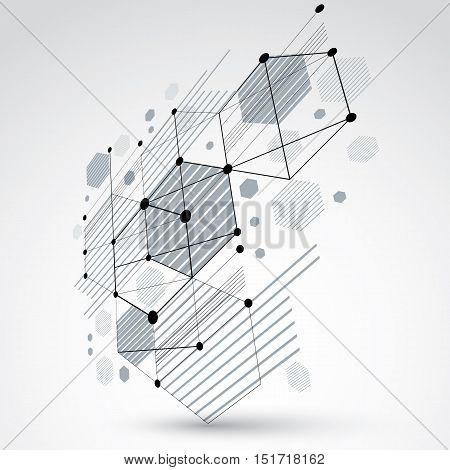 Bauhaus art 3d modular black and white vector backdrop made using hexagons and circles. Retro style pattern perspective graphic backdrop for use as booklet cover template. Engineering system.