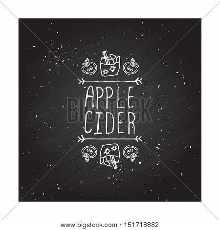 Hand-sketched typographic element with apple, apple cider and text on chalkboard background. Apple cider