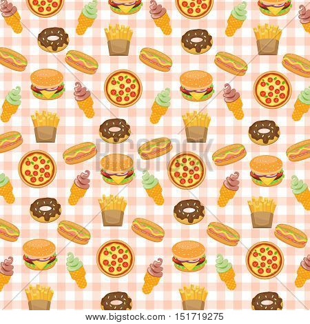 Fast food background with doughnut and hotdog, ice cream and burger, fries and pizza, vector illustration.