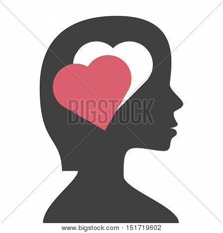 Hole in a woman's head in the shape of heart isolated on white background. Love instinct and romance concept. Flat design. Vector illustration. EPS 8 no transparency