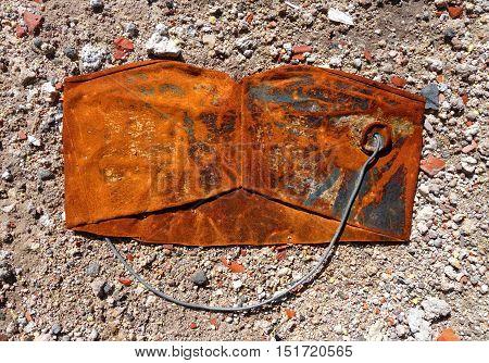 Old Crushed Rusty Bucket