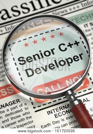 Senior C Developer - Vacancy in Newspaper. Senior C Plus Plus Developer - Close Up View Of A Classifieds Through Magnifier. Job Seeking Concept. Blurred Image. 3D Illustration.