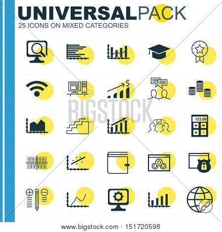 Set Of 25 Universal Icons On Discussion, Laptop, Successful Investment And More Topics. Vector Icon