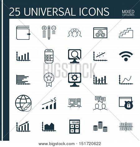Set Of 25 Universal Icons On Growth, Analytics, Wallet And More Topics. Vector Icon Set Including Di