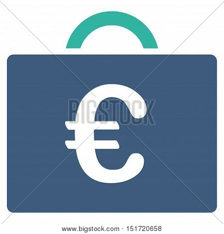 Euro Bookkeeping Case icon. Vector style is bicolor flat iconic symbol, cobalt and cyan colors, white background.