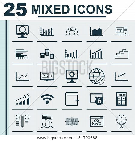 Set Of 25 Universal Icons On Laptop, Discussion, Pc And More Topics. Vector Icon Set Including Finan
