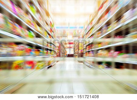 Empty supermarket, aisle on both sides of the aisle placed neatly