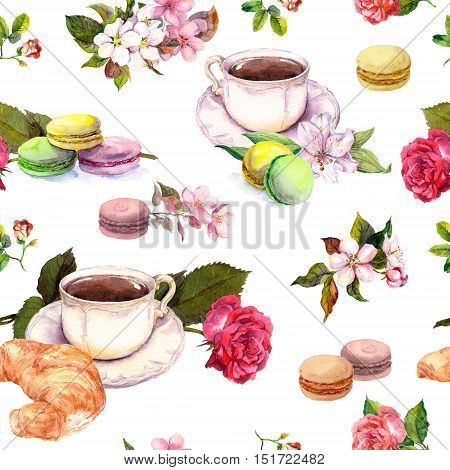 Tea or coffee pattern with flowers, croissant, tea cups and macaroon cakes. French style watercolor. Seamless background