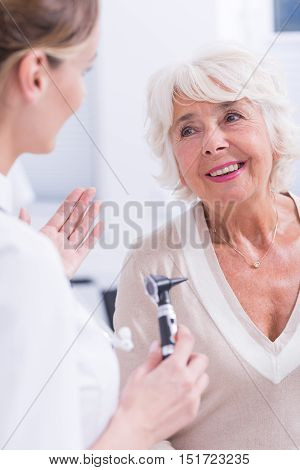 Woman During The Laryngological Examination