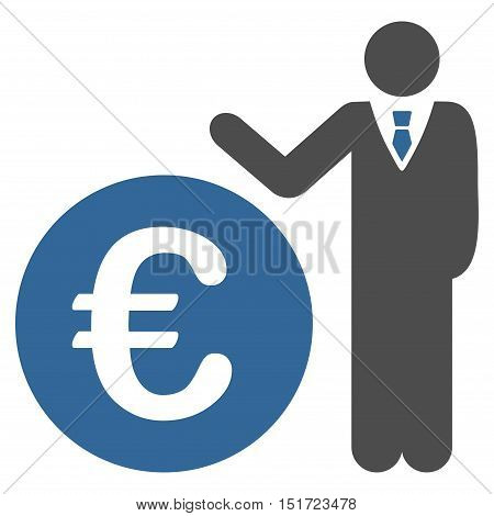 Euro Economist icon. Vector style is bicolor flat iconic symbol, cobalt and gray colors, white background.