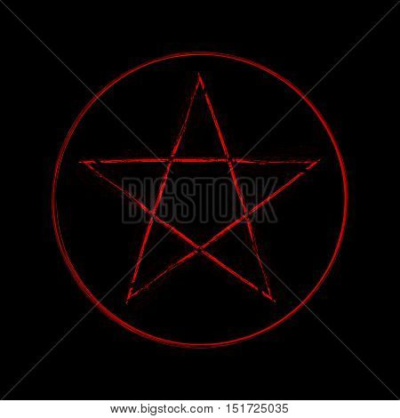 Illustration of a mystic magic pentagram symbol.